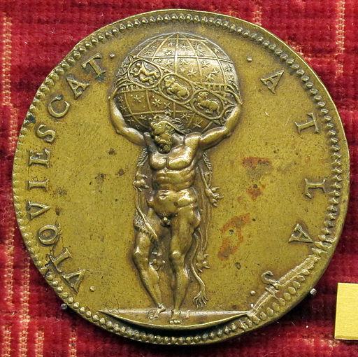 Giampaolo poggini, medaglia di filippo II di spagna, 1557, verso con atlante