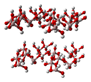 Gibbsite - Ball-and-stick model of the part of the crystal structure of gibbsite