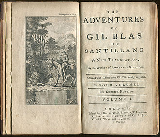 Gil Blas - Frontispiece and title page of a 1761 English translation of The Adventures of Gil Blas