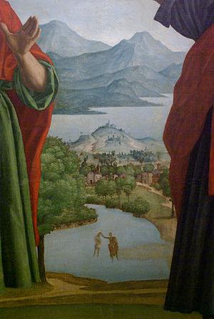 Lago del Frassino - Paint with a view of the Lake Garda and Lake Frassino or River Mincio, by Girolamo dai Libri