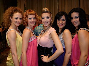Gisela (singer) - Gisela with her girls at a welcome party in Belgrade