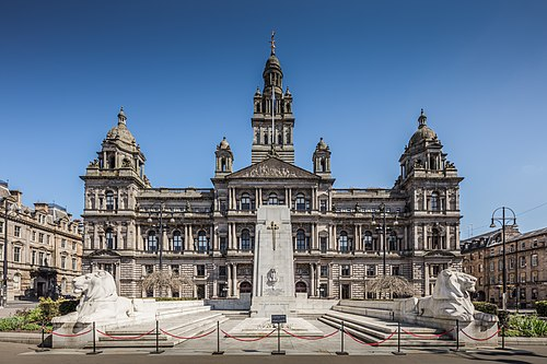Glasgow City Chambers, located on George Square, is the headquarters of Glasgow City Council and the seat of local government in the city, circa 1900.