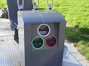 Public glass waste collection point in a neigh...