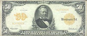 Representative money - U.S. $50 gold certificate