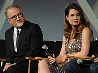 Fincher and Gillian Flynn at the 52nd New York Film Festival.