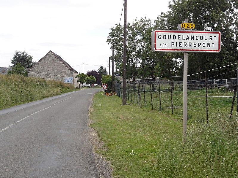 Goudelancourt-lès-Pierrepont (Aisne) city limit sign