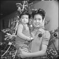 Granada Relocation Center, Amache, Colorado. Mrs. Tomiye Funai brings her two year old daughter Car . . . - NARA - 539410.tif