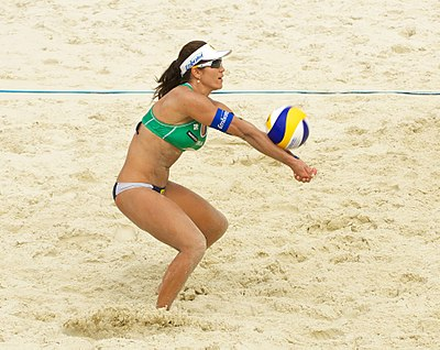 Brazil's Maria Antonelli making a forearm pass, also known as a bump Grand Slam Moscow 2012, Set 3 - 088.jpg