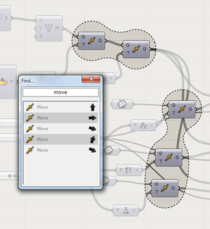 Grasshopper 3D - The Find Dialog displaying metaball outlines around search results
