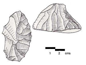 Jdeideh - Grattoir de côté. A carinated steep-scraper with a racloir on one of the sides. Found at Jdeideh II, Lebanon. Brown Cretaceous flint
