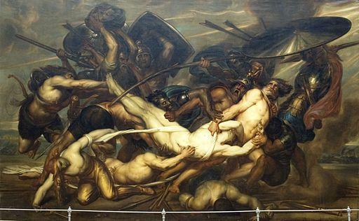 Ölgemälde: Kampf der Griechen und Troianer um den Leichnam des Patroklos