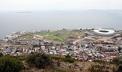 Green Point and Mouille Point From Signal Hill with Robben Island top left