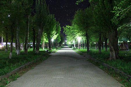 """""""Haghtanak"""" park in Gyumri city at night, Armenia"""
