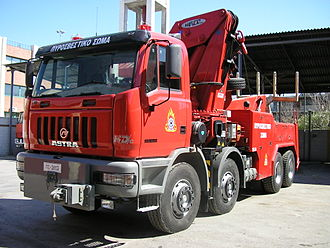 Hellenic Fire Service - Astra HD7C 84-45 tow truck of the Fire Service of Greece.