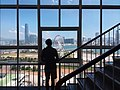 HK Central 香港大會堂 City Hall interior stairs glass window n view Promenade Waterfront n Victoria Harbour Sept 2018 SSG 02.jpg