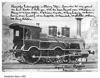 Hessian Ludwig Railway - Locomotive No. 103, Bismarck, built by  Maschinenfabrik Esslingen, 1872, for Hessische Ludwigsbahn