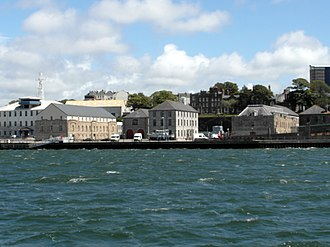 HMNB Devonport - Morice Yard viewed from the water: (l-r) No.4 Store, No.6 Sail Loft, No.5 Colour Loft, Officers' Terrace, No.3 Store, No.2 Store.