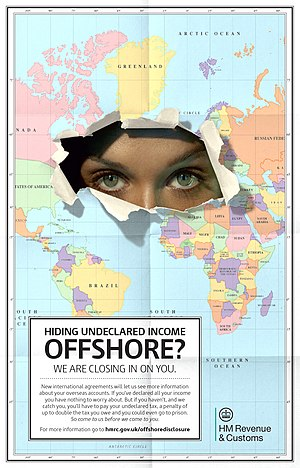 Tax evasion - Poster issued by the British tax authorities to counter offshore tax evasion.