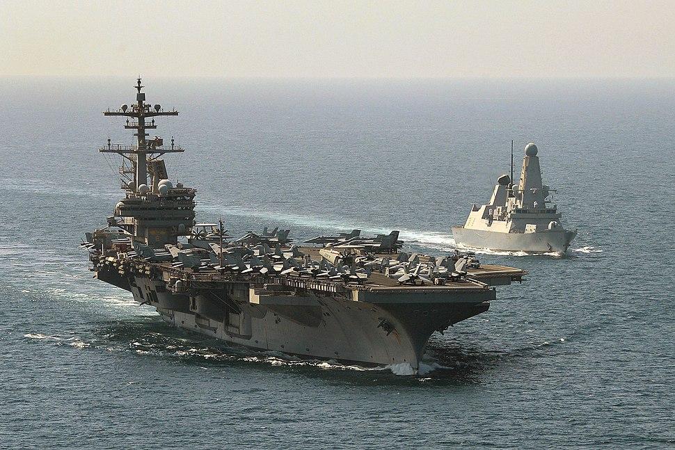 HMS Defender Escorting USS George HW Bush MOD 45157996