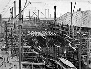 HMS Dreadnought 1906 5 days after keel laid.jpg