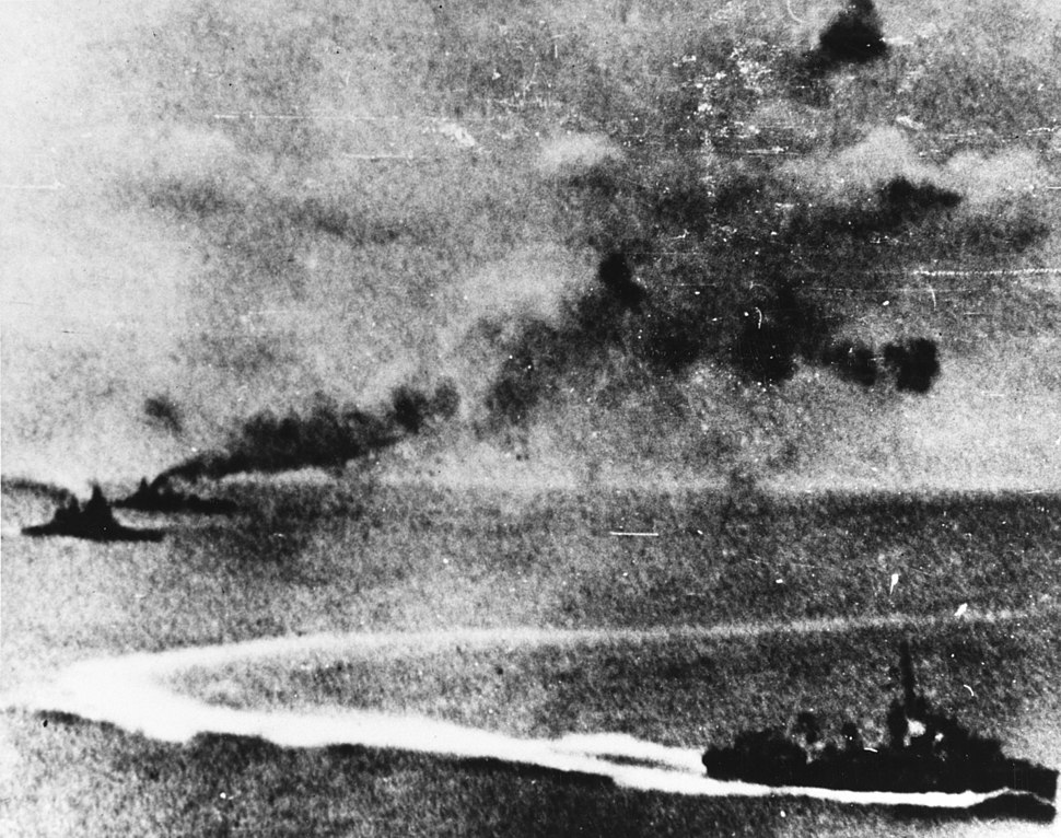 HMS Prince of Wales and HMS Repulse underway with a destroyer on 10 December 1941 (80-G-413520)