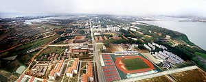 Huazhong Agricultural University - Bird's eye view of the HZAU campus. Looking west, with Wuhan's South Lake being on the right