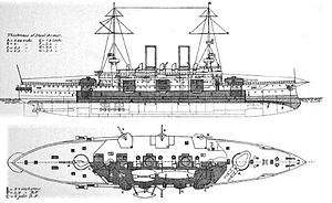 Habsburg-class battleship - Line-drawing of the Habsburg-class ships; shaded areas show the extent of the armor layout