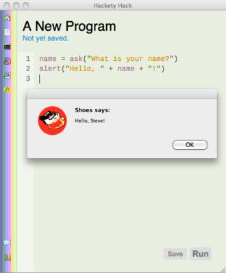 Hackety Hack - Image: Hackety screenshot