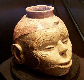 Mississippian culture pottery - A human head effigy pot from the Nodena Site