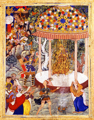 Zoroastrianism - A scene from the Hamzanama where Hamza ibn 'Abd al-Muttalib Burns Zarthust's Chest and Shatters the Urn with his Ashes