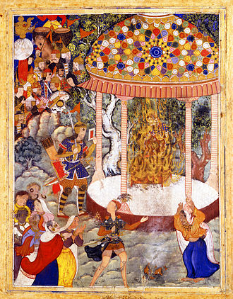 A scene from the Hamzanama where Hamza ibn 'Abd al-Muttalib Burns Zarthust's Chest and Shatters the Urn with his Ashes Hamza Burns Zarthust's Chest and Shatters the Urn with his Ashes.jpg
