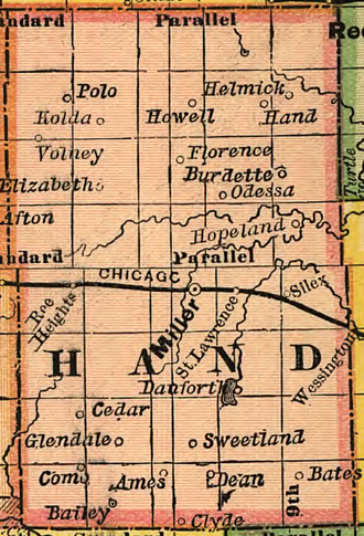 Hand County, South Dakota - Hand County and its towns and villages in 1892