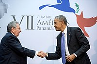 Handshake between the President and Cuban President Raúl Castro.jpg