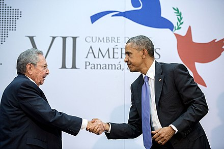 President Obama meeting with Cuban President Raúl Castro in Panama, April 2015 Handshake between the President and Cuban President Raúl Castro.jpg