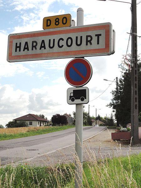 Haraucourt (M-et-M) city limit sign