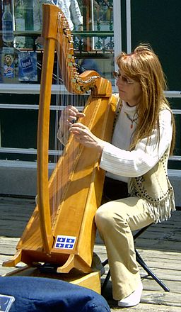 Harpist playing