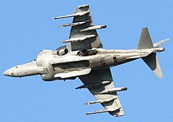 Harrier AV-8B banking left, revealing under-fuselage section.jpg