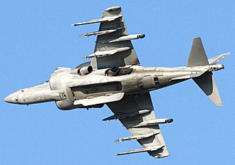 McDonnell Douglas AV-8B Harrier II - Image: Harrier AV 8B banking left, revealing under fuselage section