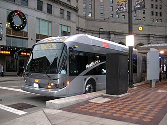 Greater Cleveland Regional Transit Authority - A HealthLine bus rapid transit,a New Flyer DE60LFA, at Public Square