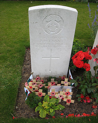 Artillery Wood Commonwealth War Graves Commission Cemetery - Image: Hedd Wyn Gravestone