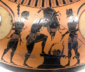 Hercules brings the Erymanthian Boar to Eurystheus, while he is hiding, alive.