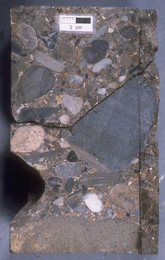 Jeanne d'Arc Basin - Pebble to cobble conglomerate bed of the Upper Jurassic (Tithonian) Jeanne d'Arc Formation cored at the Hibernia O-35 well drilled in the Hibernia oilfield.