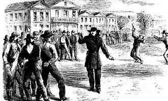 Wild Bill Hickok – Davis Tutt shootout - Wild Bill Hickok threatens the friends of Davis Tutt after defeating Tutt in a duel. Harper's New Monthly Magazine, February 1867