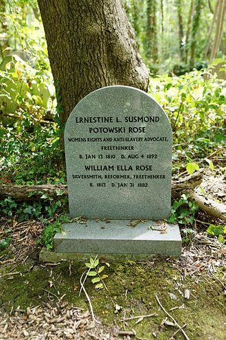 Ernestine Rose - Rose's grave in Highgate Cemetery.