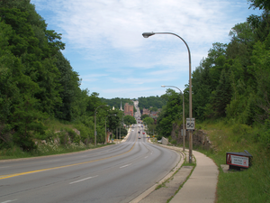 Ontario Highway 21 - Highway 21 and Highway 6 descend the Niagara Escarpment into Owen Sound