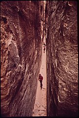 Hiking through the Narrows on the Chesler Park Trail, 05-1972 (3814973832).jpg