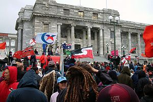 Aboriginal title - Protests against the Foreshore and Seabed Act 2004, which extinguished claims to aboriginal title to the foreshore and seabeds in New Zealand