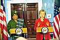 Hillary Clinton meets with Liberian President Ellen Johnson-Sirleaf, April 2009-2.jpg