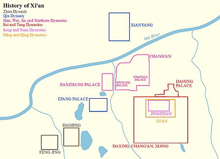 Map showing the history of city walls of Xi'an from Zhou dynasty to Qing dynasty. History of Xi'an.jpg