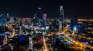 Ho Chi Minh City's District 1 skyline photographed at night